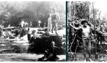 Expedição geográfica descendo o rio do Peixe em 1906, e Índio Kaingang encontrado na incursão   (Arquivo Pessoal: José Carlos Daltozo).