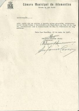 Lei Municipal Nº 843, de 27 de maio de 1967, que redefiniu o calendário com a data de aniversário de Adamantina (Reprodução).