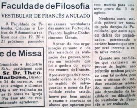 Vestibular de francês anulado. Jornal O Adamantinense nº 134, ano III, p. 2, 28/7/1968.