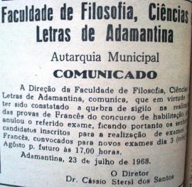 Convocação para novos exames de francês. Jornal O Adamantinense nº 134, ano III, p. 2, 28/7/1968.