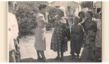 Báb Ignatikha sendo recebida por uma família em Lucélia/SP nos anos 1960 (Fonte: Acervo da família Vazniac).