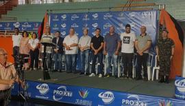 Abertura dos 11º Jogos Universitários JUNIFAI ocorreu neste sábado (12) no Ginásio Municipal de Esportes (Foto: Jesana Lima/UniFAI).