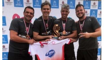 Equipe masculina de biribol de Adamantina, destaque nos 82º Jogos Abertos do Interior com a terceira classificação na primeira divisão da competição (Foto: Divulgação).