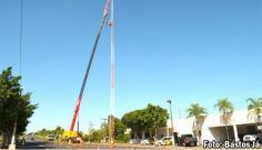 Após ser danificada por vento, torre da Polícia Rodoviária de Tupã passa por manutenção