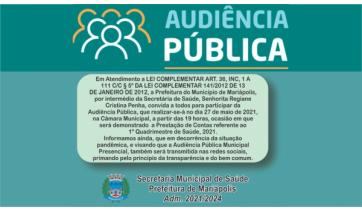 Transparência: Saúde de Mariápolis realiza audiência pública nesta quinta-feira