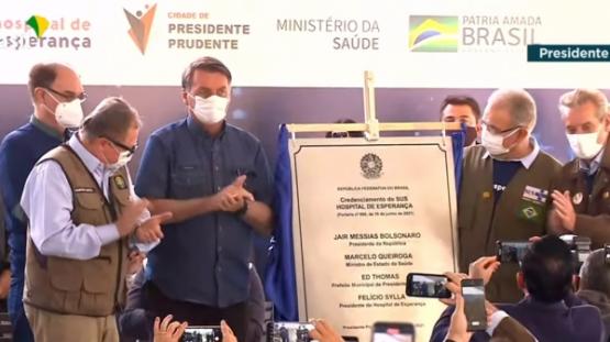 Solenidade com Bolsonaro marca credenciamento do Hospital do Câncer de Presidente Prudente ao SUS