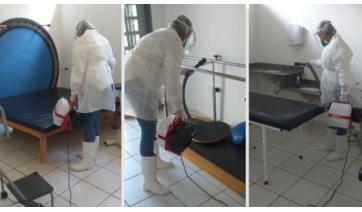 Sanitização realizada nos espaços do Centro de Reabilitação, que volta a atender a comunidade na próxima segunda-feira  (Divulgação/PMM).