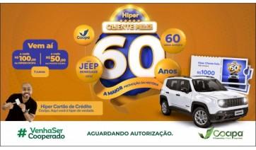 Promoção Hiper Cliente Feliz Cocipa vai sortear 1 Jeep Renegade e 60 vales-compra de R$ 1 mil