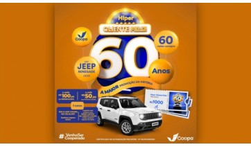 Começa a promoção Hiper Cliente Feliz Cocipa, com 1 Jeep Renegade e 60 vales-compra de R$ 1 mil