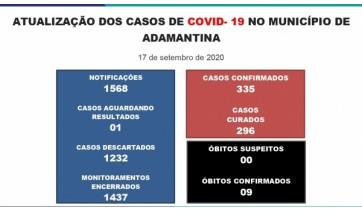 Boletim divulgado na quinta-feira (17) pela Prefeitura de Adamantina (Reprodução/PMA).