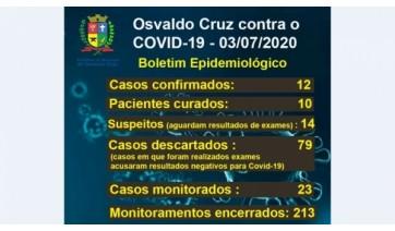 Cruz tem 12 casos da Covid-19 e nenhuma morte pela doença