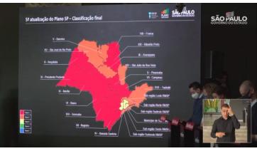 Nova configuração do mapa regionalizado pelo Plano São Paulo, anunciada no começo da tarde (Reprodução).