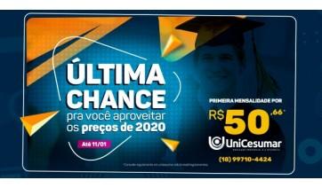 Unicesumar oferece desconto na primeira mensalidade até 11 de janeiro