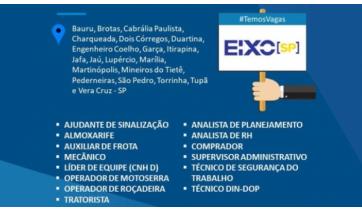 Concessionária Eixo SP divulga oportunidades para 14 cargos e vagas para 20 cidades