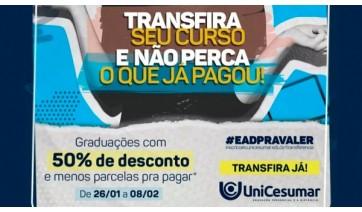 Unicesumar oferece 50% de desconto em transferência de graduação