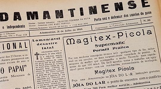 Anúncio de O Adamantina, datado de 31 de julho de 1966 (Reprodução).