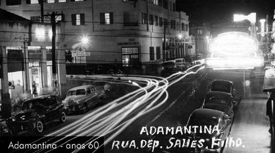 Adamantina, anos 60. Cruzamento da atual Rua Deputado Salles Filho com a Avenida Rio Branco (Arquivo Histórico Municipal).