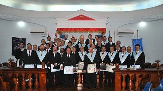 Obreiros da Loja Maçônica Estrela de Adamantina, na comemoraçao dos 70 anos de fundação (Foto: Cedida).