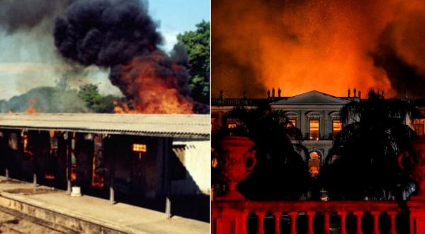Incêndio na antiga Estação Ferroviária de Adamantina, em 2000 (Acervo: Arquivo Histórico de Adamantina) e no Museu Nacional do Rio de Janeiro, neste mês de setembro (Foto: Tânia Rego/Agência Brasil ).