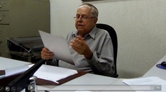 Fernando Chagas Fraga entrevistado em 1º de outubro de 2013 (Acervo Pessoal/Tiago Rafael).
