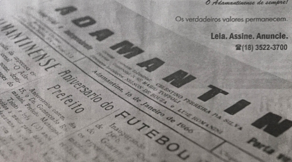 O Adamantinense, em sua primeira edição (16/01/1966), atual Jornal Diário do Oeste (Reprodução/Livro Reviver Adamantina/João Carlos Rodrigues).