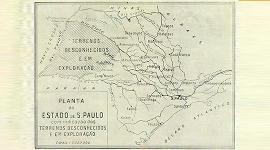 Mapa do Estado de São Paulo com indicações de terrenos desconhecidos e em exploração, o que incluía a região, produzido pela então Comissão Geográfica e Geológica de São Paulo (Reprodução).