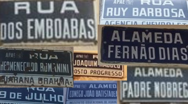 Placas com nomes de ruas, em Adamantina (Fotos: Sérgio Barbosa).