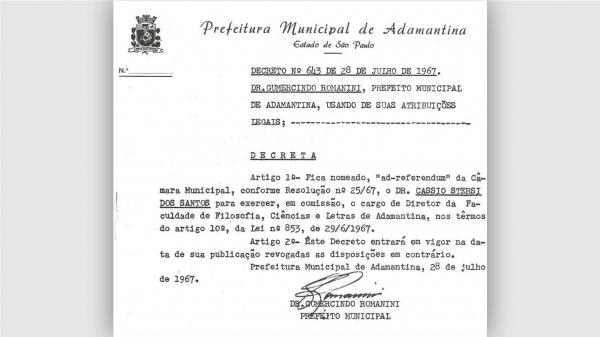 Desde 1967, quando foi criada a Fafia, nomeação do dirigente da instituição municipal de ensino de Adamantina se dá por ato do prefeito, após referendo da Câmara Municipal (Reprodução).