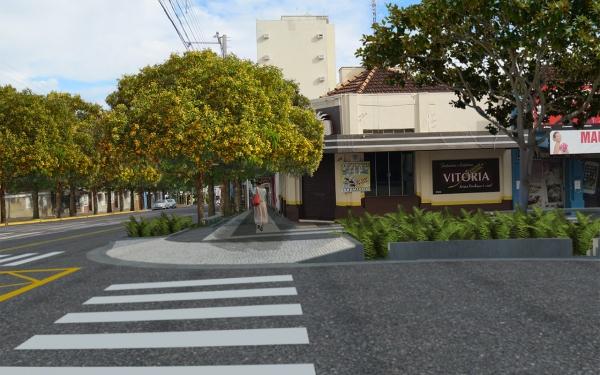 Perspectiva do tradicional cruzamento da avenida Rio Branco com a rua Deputado Salles Filho: verde, cores e sombra (Ilustração).
