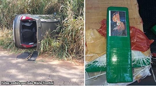 Carro com mais de 22 kg de maconha é encontrado capotado em rodovia vicinal