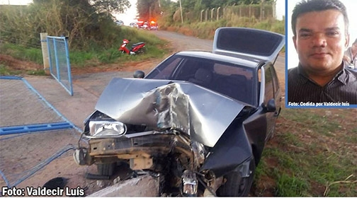 José Ernesto da Silva, de 45 anos de idade, morador de Iacri e que viajava como passageiro em um Gol, morreu em acidente de trânsito, neste domingo (Reprodução/Bastos Já).