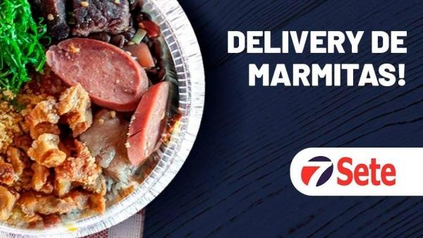 Serviço de delivery de marmitas, na Rede Sete Supermercados, de Adamantina, já está ativo. Pedidos a partir das 10h, com entregas das 11h às 14h, de segunda a sábado, exceto feriados (Divulgação).