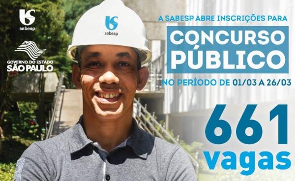 Sabesp abre concurso público com 661 vagas, em diversos níveis de escolaridade, para diversas regiões do Estado (Imagem: Divulgação/Sabesp).