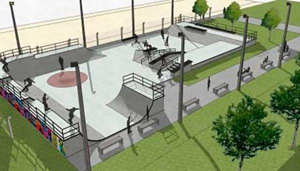 Pista de skate será construída no Parque dos Pioneiros (Imagem: Ilustração).