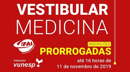 UniFAI prorroga inscrições do Vestibular de Medicina 2020 até 11 de novembro (Imagem: Agência UniFAI).