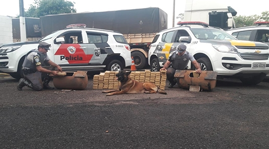 0s 129 tabletes de cocaína, que pesaram 135,3 quilos, estavam escondidos em dois cilindros de ar de uma carreta, descobertos por cão farejador do 8º Baep (Foto: Cedida/PM Rodoviária).