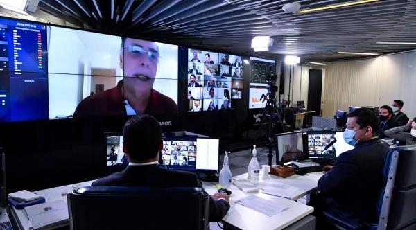 Plenário virtual, que centralizou a votação remota (Foto: Waldemir Barreto/Agência Senado).