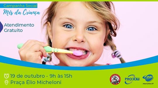 Atlética de Odonto faz atendimentos gratuitos e orientações para crianças na praça Élio Micheloni neste sábado, 19, das 9h às 15 horas (Imagem: Agência UniFAI).