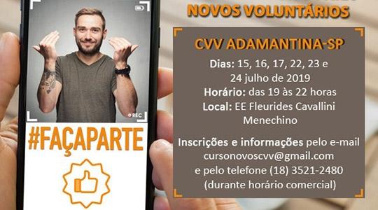 Curso para novos voluntários para o posto do CVV em Adamantina está com inscrições abertas (Divulgação).