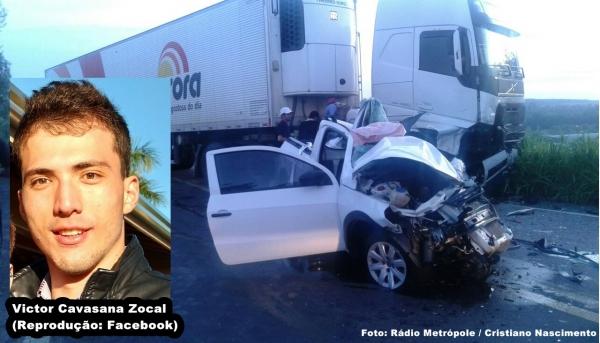 Caminhão Volvo e uma Saveiro se envolveram em acidente com vítima fatal. (Fotos: Cristiano Nascimento/Portal FM Metrópole).