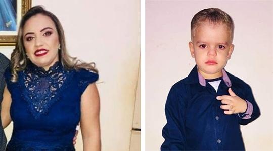 Patrícia Aparecida da Silva Alves e seu filho Paulo Sérgio, de 4 anos, duas das quatro vítimas fatais do acidente, que eram moradores em Tupi Paulista (Divulgação).