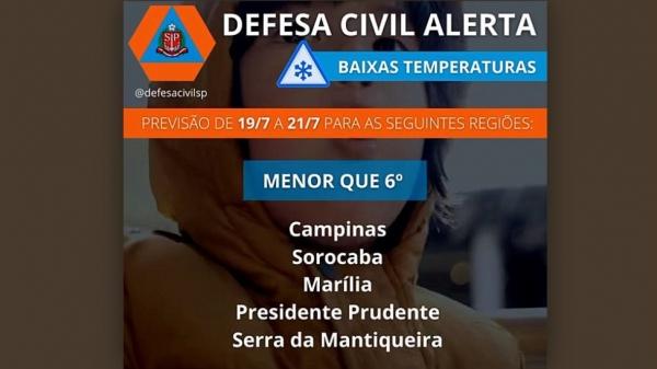 Alerta da Defesa Civil mostra as regiões que podem ser mais atingidas com a massa de ar frio polar (Reprodução).