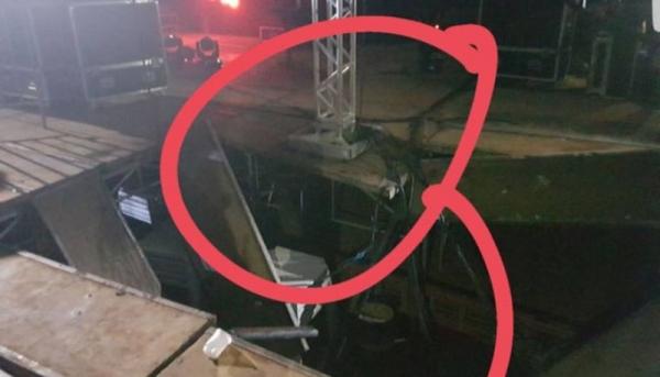 Publicação realizada pelo artista em seu perfil oficial no Instagram mostra o palco com danos em sua estrutura (Foto: Reprodução/Alok).