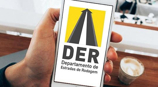 Na loja de aplicativos do seu celular use a busca para localizar o aplicativo chamado DER Online, clique na imagem e depois em instalar (Divulgação).