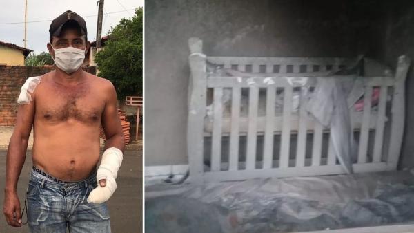 O vizinho Felício Alves (Foto: Rafael Ferraz/TV TEM) arrombou a janela do quarto para resgatar a bebê de sete meses, que estava no berço e sofreu queimaduras no incêndio (Foto: Regional Press).