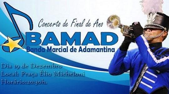 Apresentação da BAMAD ? Banda Marcial de Adamantina, será quinta-feira (19), às 20h30 (Divulgação).
