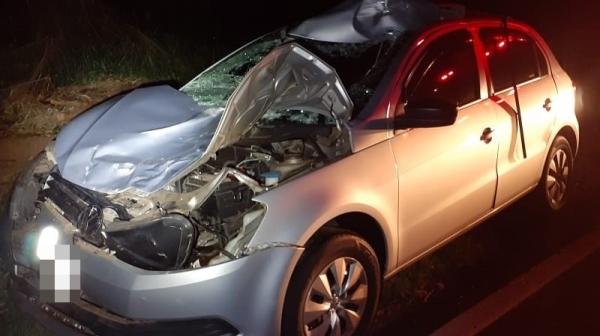 Situação do automóvel, após o acidente  (Foto: Cedida/Polícia Militar ? Reprodução: Site Jorge Zanoni).