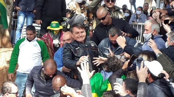 Presidente Jair Bolsonaro neste sábado (31) em Presidente Prudente (Foto: Emerson Sanchez/TV Fronteira).