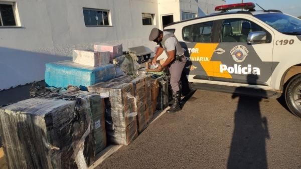 Mercadorias foram apreendidas pela equipe do Tático Ostensivo Rodoviário (TOR) da PM Rodoviária (Reprodução/SSP-SP).