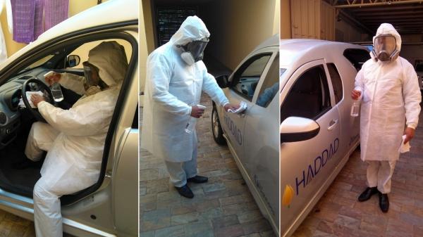 Com equipamentos de proteção individual, colaborador da Haddad Organização Social faz a sanitização completa dos veículos usados no transporte funerário (Cedida).